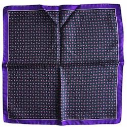 Small Paisley Printed Silk Pocket Square - Dark Green/Orange/Purple