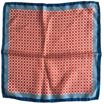 Check Printed Silk Pocket Square - Rust Orange/White/Blue