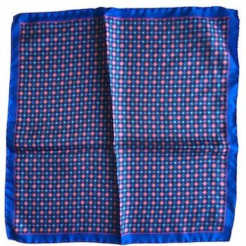 Floral Printed Silk Pocket Square - Navy Blue/Mid Blue/Pink