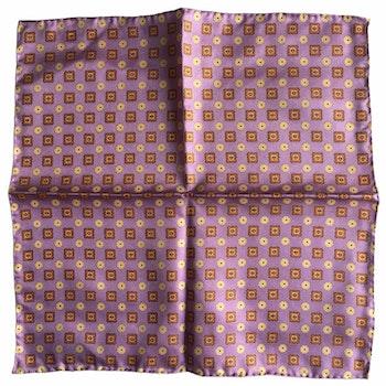 Medallion Printed Silk Pocket Square - Pink/Yellow/Orange