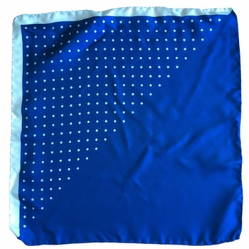 Polka Dot / Solid Silk Pocket Square - Cobolt/White