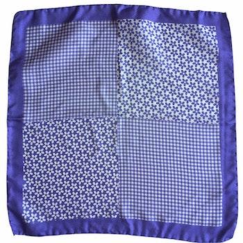 Floral Printed Silk Pocket Square - Purple/White