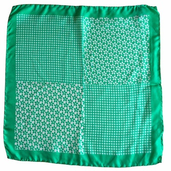 Floral Printed Silk Pocket Square - Green/White