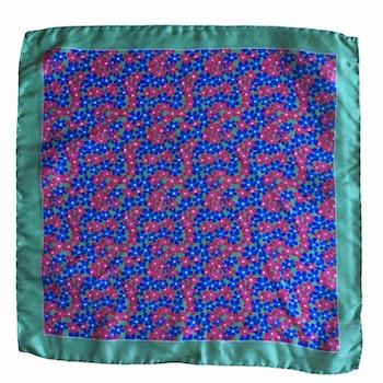Floral Printed Silk Pocket Square - Mid Blue/Pink/Green