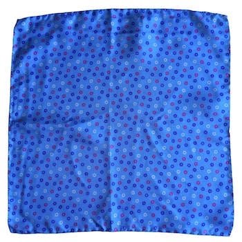 Small Floral Printed Silk Pocket Square - Light Blue/Pink/White/Navy Blue