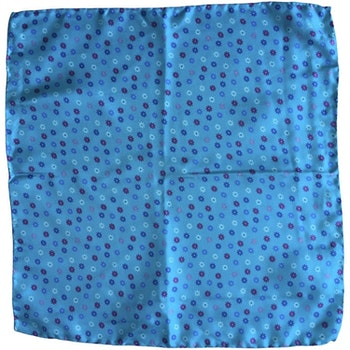 Small Floral Printed Silk Pocket Square - Turquoise/Pink/White/Light Blue