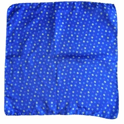 Small Floral Printed Silk Pocket Square - Mid Blue/Pink/White/Light Blue