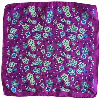 Floral Printed Silk Pocket Square - Cerise/Beige/Navy Blue