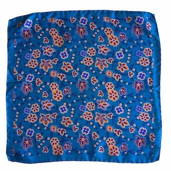 Floral Printed Silk Pocket Square - Turquoise/Orange/Navy Blue