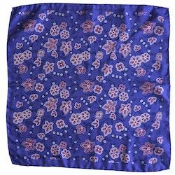 Floral Printed Silk Pocket Square - Purple/Pink/Navy Blue