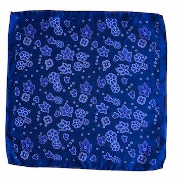 Floral Printed Silk Pocket Square - Navy Blue/Purple