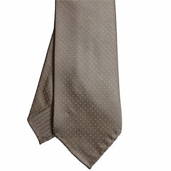 Pindot Silk Tie - Untipped - Champagne/White
