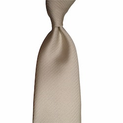Solid Rep Silk Tie - Untipped - Champagne