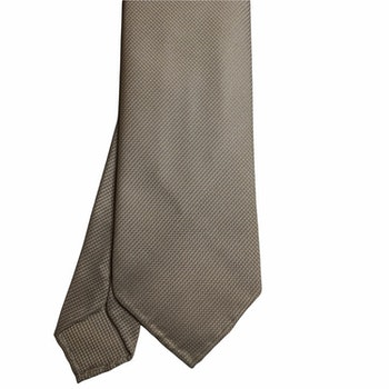 Solid Textured Silk Tie - Untipped - Champagne