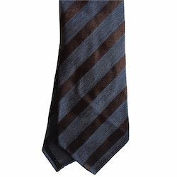 Regimental Silk/Wool Tie - Untipped - Navy Blue/Brown