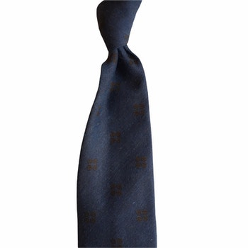 Medallion Silk Tie - Untipped - Navy Blue/Brown