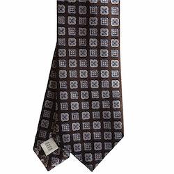Medallion Silk Tie - Brown/Light Blue/White/Orange
