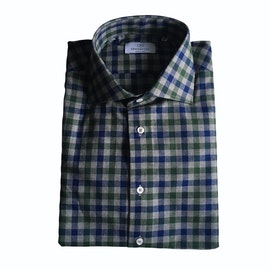 Check Flannel Shirt - Cutaway - Grey/Navy Blue/Green