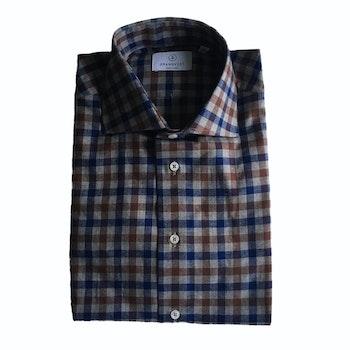 Check Flannel Shirt - Cutaway - Grey/Navy Blue/Brown