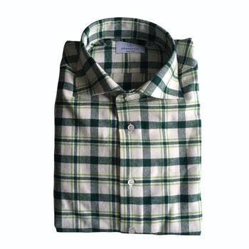 Large Check Chunky Flannel Shirt - Cutaway - White/Green