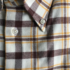 Large Check Chunky Flannel Shirt - Button Down - White/Burgundy/Yellow