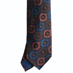 Medallion Ancient Madder Silk Tie - Untipped - Burgundy/Blue/Red/Green
