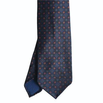 Medallion Ancient Madder Silk Tie - Untipped - Navy Blue/Green/Orange/Mid Blue