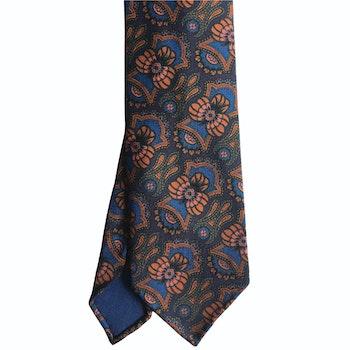 Floral Ancient Madder Silk Tie - Untipped - Navy Blue/Green/Orange/Mid Blue