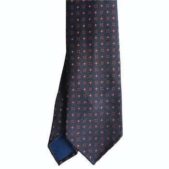 Medallion Ancient Madder Silk Tie - Untipped - Navy Blue/Orange/Green