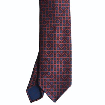Circles and Squares Ancient Madder Silk Tie - Untipped - Rust/Red/Navy Blue/Green