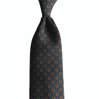 Circles and Squares Ancient Madder Silk Tie - Untipped - Green/Rust/Navy Blue