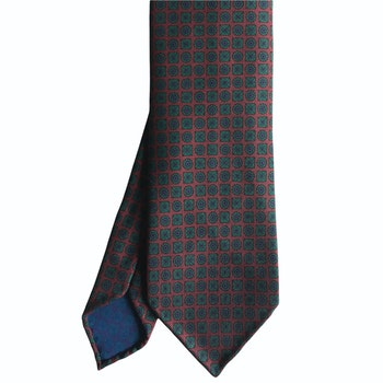 Circles and Squares Ancient Madder Silk Tie - Untipped - Burgundy/Green/Purple