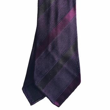 Regimental Silk Grenadine Tie - Untipped - Maroon/Burgundy/Brown
