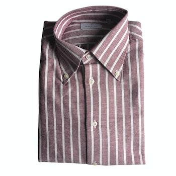 Striped Twill Flannel Shirt - Button Down - Burgundy/White