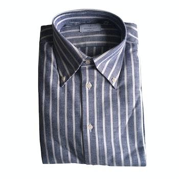 Striped Twill Flannel Shirt - Button Down - Navy Blue/White