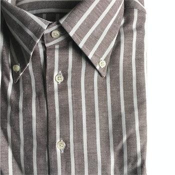 Striped Twill Flannel Shirt - Button Down - Brown/White