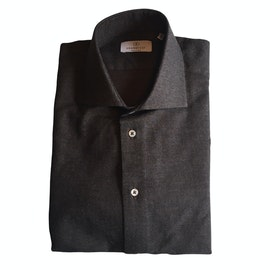 Solid Small Herringbone Flannel Shirt - Cutaway - Dark Brown