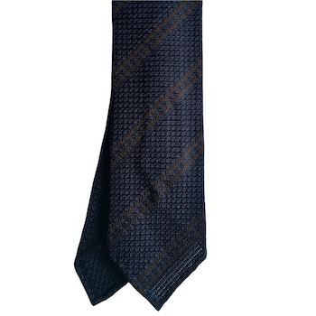 Regimental Silk Grenadine Tie - Untipped - Navy Blue/Brown