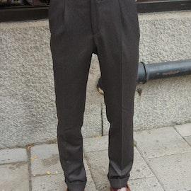 Solid High Waist Flannel Trousers - Dark Brown