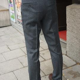 Solid High Waist Flannel Trousers - Dark Grey