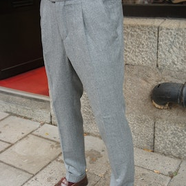 Solid High Waist Flannel Trousers - Light Grey