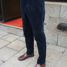 Solid High Waist Corduroy Trousers - Navy Blue