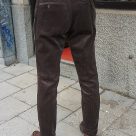 Solid High Waist Corduroy Trousers - Dark Brown