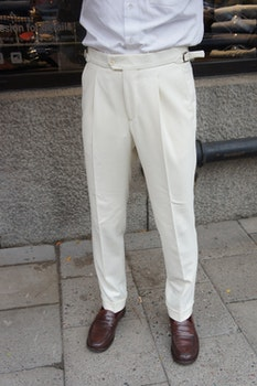 Solid High Waist Flannel Trousers - Off White