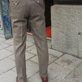 Solid Ghurka Wool Tweed Trousers - Brown