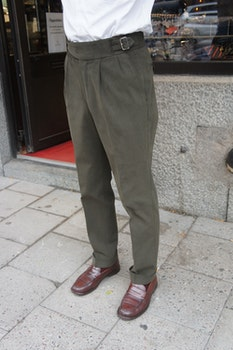 Solid Ghurka Heavy Cotton Trousers - Olive Green