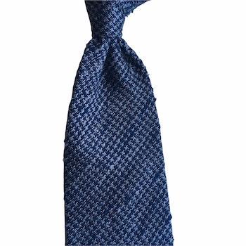 Semi Solid Shantung Grenadine Tie - Untipped - Grey/Navy Blue