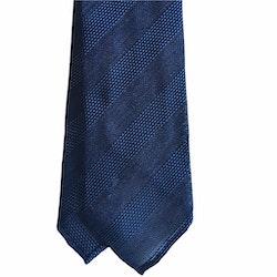 Regimental Silk Grenadine Tie - Untipped - Navy Blue