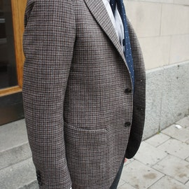 Small Check Wool Jacket - Unconstructed - Brown/Blue