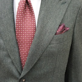 Solid Herringbone Wool Jacket - Unconstructed - Dark Green